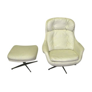 Mid-Century Retro Armchair & Ottoman - A Pair For Sale