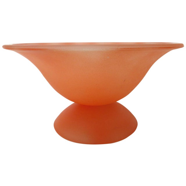 Large Peach Murano Glass Pedestal Bowl For Sale