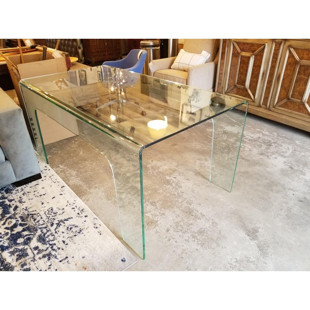 Modern Solid Clear Glass Desk For Sale - Image 4 of 5