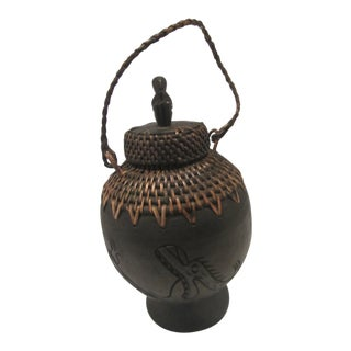 Vintage Mountain Tribal Hand Carved Wood & Basket Grain Jar For Sale
