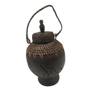 Vintage Mountain Tribal Hand Carved Wood & Basket Grain Jar For Sale