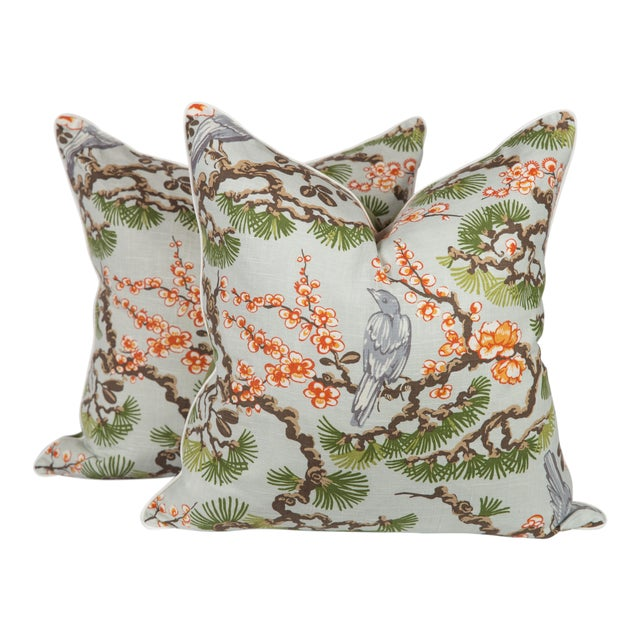 Cherry Blossom Chinoiserie Pillows, a Pair For Sale