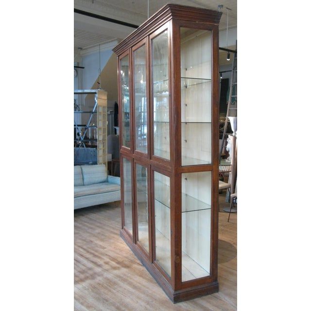 Arts & Crafts Large Antique Late 19th C. Oak and Glass Display Cabinet For Sale - Image 3 of 8
