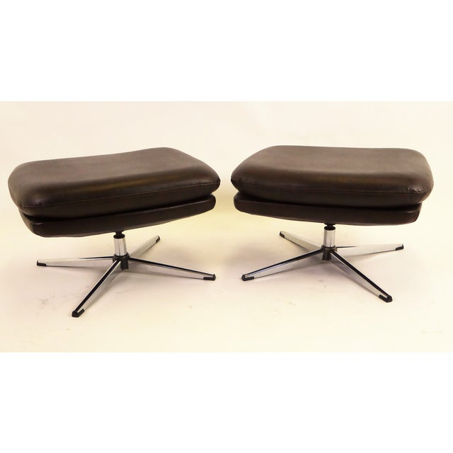 Metal 1970s Overman Swivel Foot Stools Benches in Dark Brown Leatherette- A Pair For Sale - Image 7 of 13