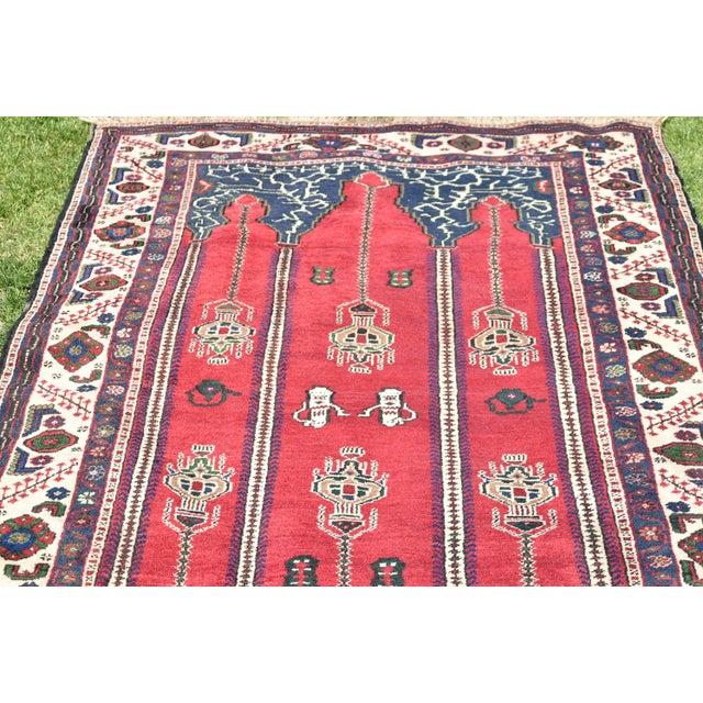 Turkish Vintage Oriental Design Red-Blue Color Carpet - 4x8.5 For Sale - Image 4 of 12