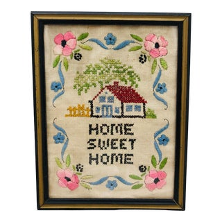 "Antique Hand Stitch in Frame ""home Sweet Home"" For Sale"