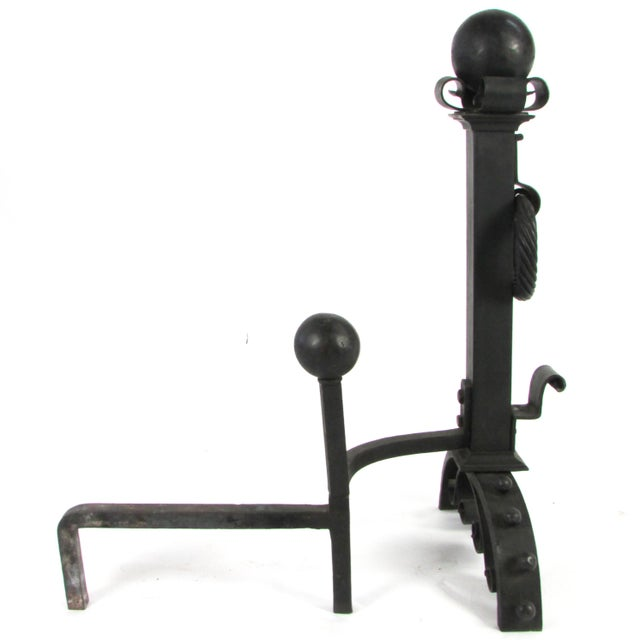 Large-Scale Wrought Iron Andiron W/ Cross Bar - A Pair - Image 5 of 5