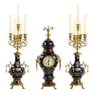 French Cobalt Blue Porcelain Mantel Clock and Candelabras of Gilt Bronze - Set of 3 For Sale