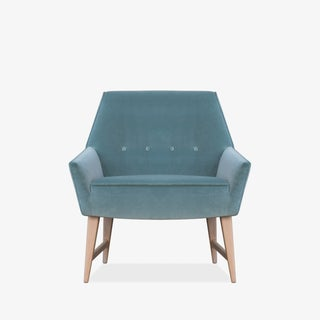 Mid-Century Club Chairs in Sea Velvet, Pair Preview