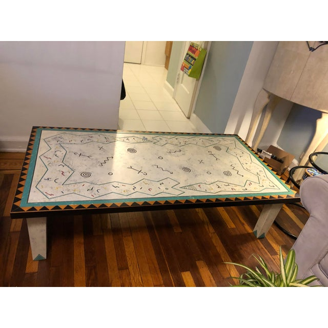 Richard Kooyman Wood Carved Hieroglyphic Multicolored Coffee Table For Sale - Image 4 of 9