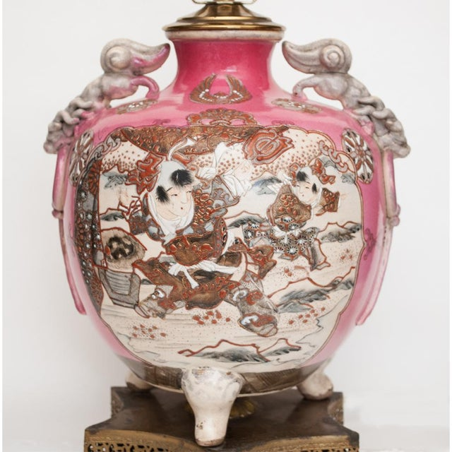 A gorgeous and elegant Meiji Era Japanese Satsuma Vase on three feet, custom made into a table lamp in the end of 19th-...