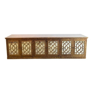 Vintage Faux Tortoise Hollywood Regency Credenza For Sale
