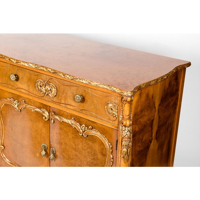 20th Century Burlwood Sideboard with Gold Design Details For Sale - Image 10 of 12