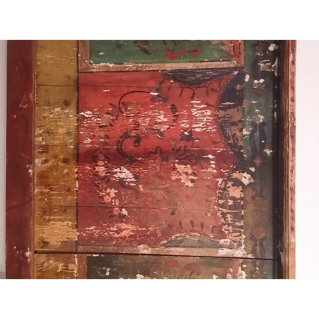 Antique Primitive Painted Red Headboard - Image 6 of 10