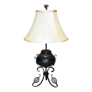 Wrought Iron Piano Oil Lamp For Sale