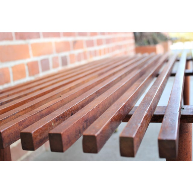 Mid-Century Modern Walnut Slat Bench/Coffee Table For Sale - Image 10 of 11