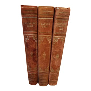 3 Matching Leather Spine Swedish Books For Sale