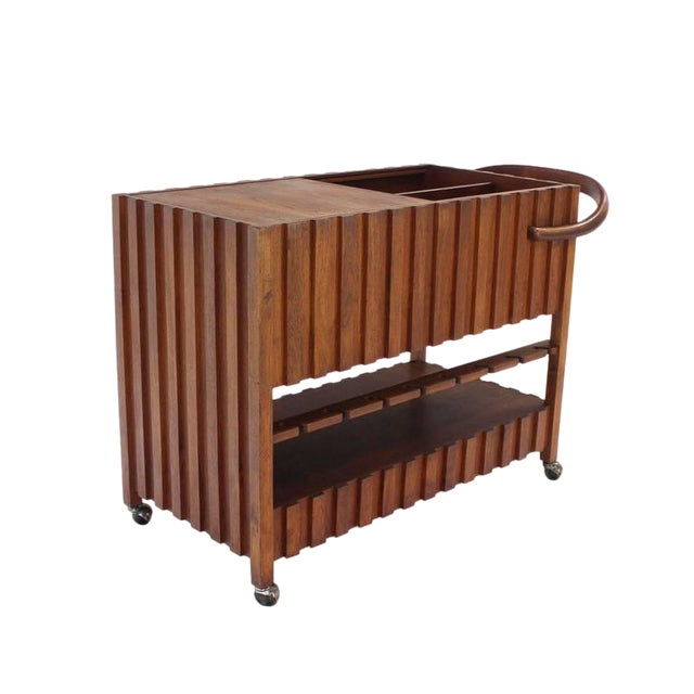 Brown Mid-Century Modern Solid Oiled Walnut Bar Serving Cart For Sale - Image 8 of 8