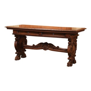 Mid-19th Century Italian Renaissance Revival Carved Walnut Writing Table Desk For Sale