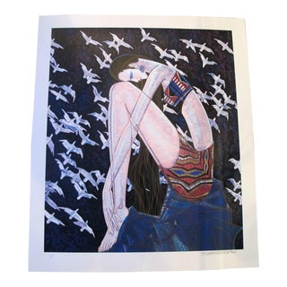 "Ting Shao Kuang Signed Chinese Modernist ""Echos"" emale Portrait Birds Silkscreen For Sale"