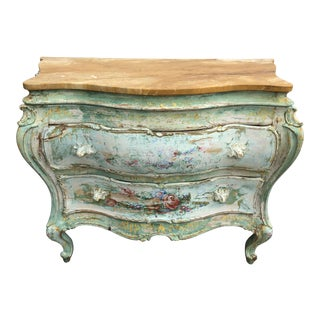 19th C. Venetian Paint Decorated Commode Chest For Sale