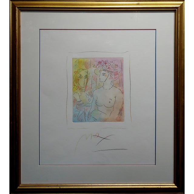 Peter Max - Homage to Pablo Picasso -original color Etching hand-colored etching -Signed paper under glass &...
