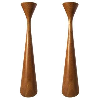 Mid-Century Danish Modern Tall Teak Candlestick Holder by Rude Osolnik-A Pair For Sale