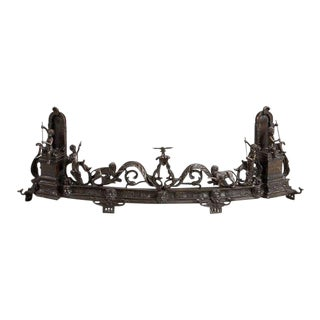 Neoclassical Bronze Fireplace Andiron Fender For Sale