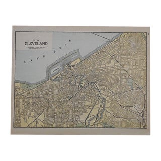 City Map Antique Lithograph - Cleveland, OH For Sale