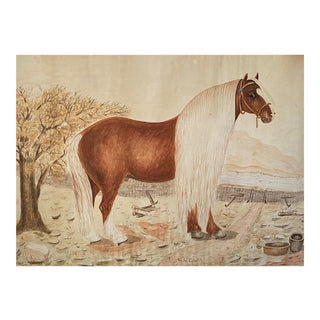 Massive British Watercolor of a Barge Horse Named Bob, Signed m.n. Carr For Sale