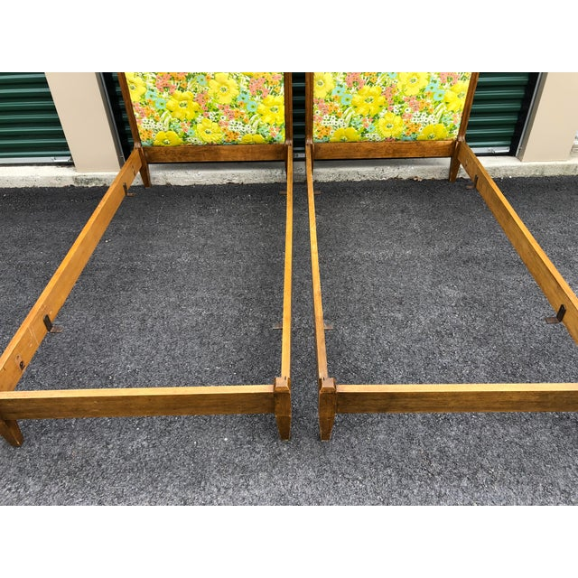 Wood Vintage Upholstered Twin Bed Frames - a Pair For Sale - Image 7 of 13