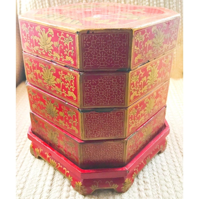 Mid Century Stacked Wood Asian Boxes - Image 4 of 9