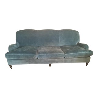 Lee Industries Blue Velvet Sofa For Sale