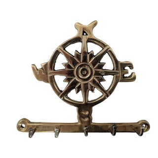 Mid Century Brass Nautical Compass Keyring Holder For Sale