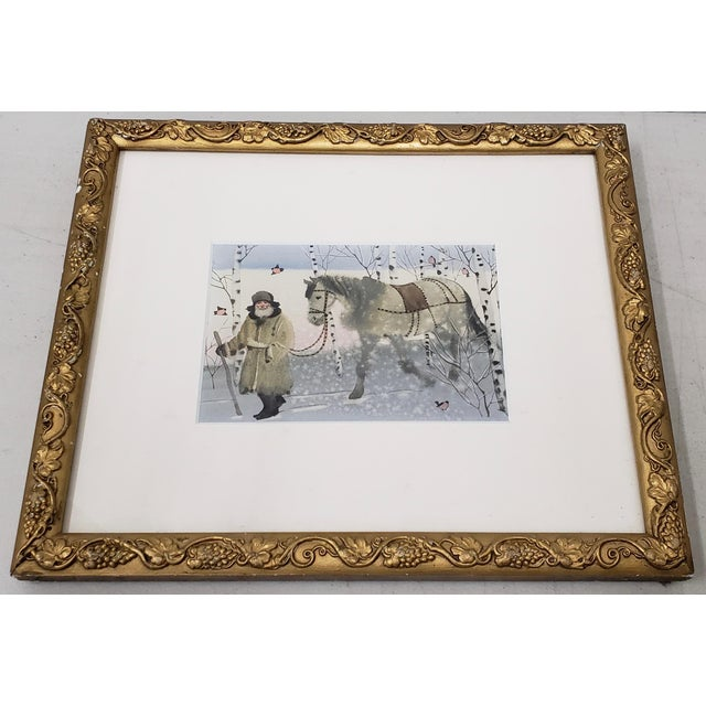 """A Winter Walk"" Original Watercolor Illustration For Sale - Image 9 of 9"
