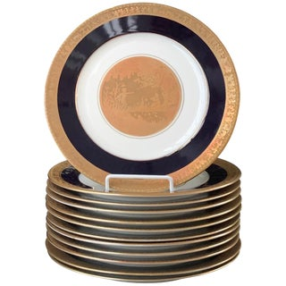 Dinner Plates With Gold and Cobalt Rim For Sale