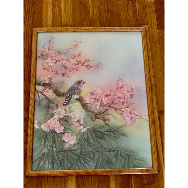 Large Vintage Watercolor Pastel Bird & Cherry Blossom Wall Art For Sale - Image 10 of 10
