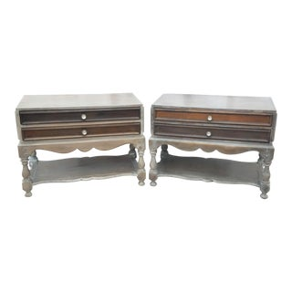 Oversized Antique Rustic Farmhouse Nightstands - a Pair For Sale