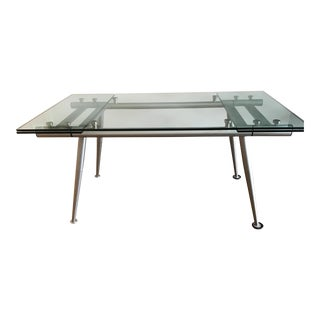 Modern Calligaris Extendable Glass & Metal Dining Table For Sale