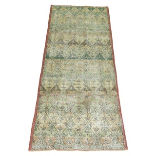 Green Turkish Deco Runner Rug - 3'2'' X 8'5'' For Sale