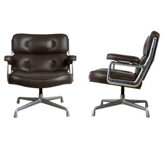 Charles Eames for Herman Miller Dark Grey Time Life Lobby Lounge Chairs - a Pair For Sale