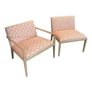 Danish Modern Persimmon and Linen Patterned Maple Arm Chairs - a Pair