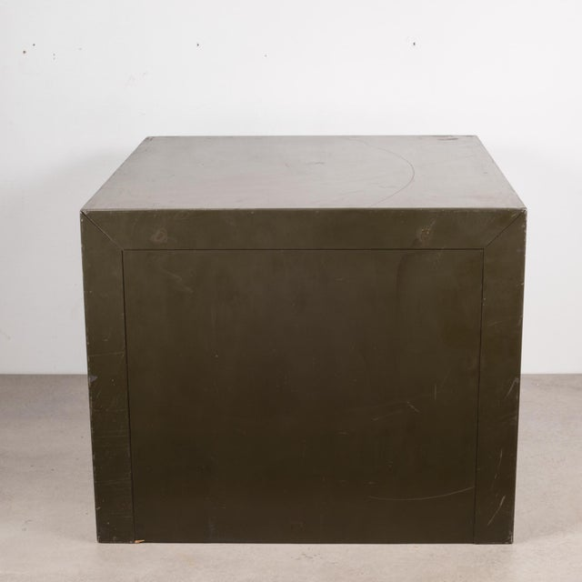 Army Green Industrial Factory Two Drawer Cabinet With Brass Pulls C.1940 For Sale - Image 8 of 12