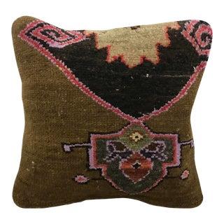 Vintage Turkish Oushak Decorative Rug Pillow For Sale