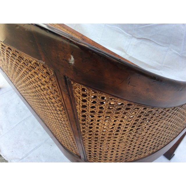 Traditional Mahogany and Cane Settee For Sale In Los Angeles - Image 6 of 7