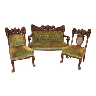 Antique Late 19th. C Karpen Settee & Side Chairs - the Maiden Suite Set of 3 For Sale