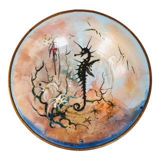 Vintage Sagitta Holland Signed Seahorse Copper Enamel Plate Dish For Sale