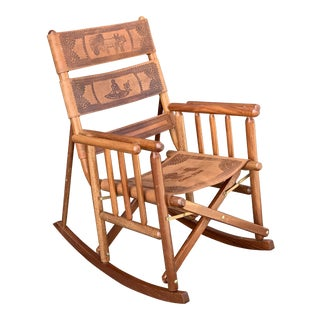 Mid-Century Modern Costa Rican Leather Folding Rocking Chair For Sale