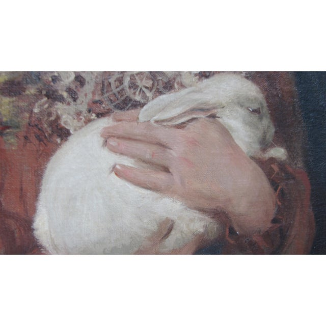 Portrait of a Girl and Her Rabbit by William Walls - Image 4 of 10