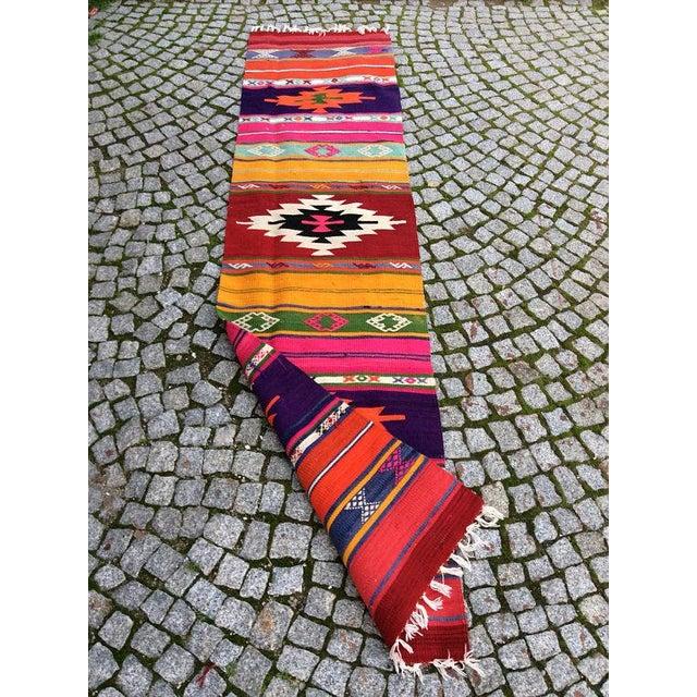 "Vintage Turkish Anatolian Kilim Rug - 1'8"" X 7'3"" - Image 5 of 6"